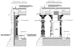 2D CAD Drawing Of Temple Traditional Columns Design DWG file