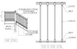 2D CAD Drawing Stair Elevation And Stud Design AutoCAD File