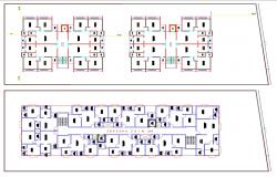2D CAD Drawing Two BHK Apartment Planning AutoCAD File
