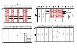 2D CAD File Front Sectional Elevation Of Small Shops AutoCAD Drawing