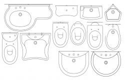 2D CAD Plan Of Commode And Basin Drawing AutoCAD File