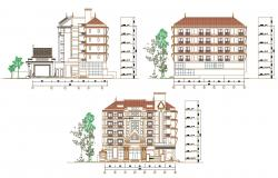 2D CAD Traditional Elevation Of Apartment With Working Drawing AutoCAD File