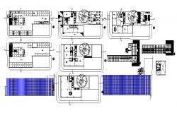2D Drawing of office Building with different Elevation and Section in Autocad