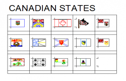 2D block of Canadian state flags design drawing