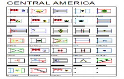 2D block of Central American Flags design drawing
