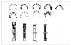 2D block of Islam-Arches-Columns design drawing