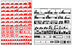 2D block of Transport vehicle block design drawing