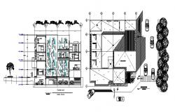 2D drawing of 4 story  hostel with Top view in dwg file