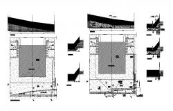 2D drawing of retaining wall with different section view