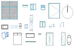 2D dynamic blocks of door window design drawing