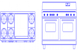 2D elevation and Plan of Stove design drawing