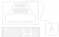 2D elevation design of a computer,keyboard and mouse dwg file