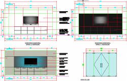 2D elevation design of tv unit dwg file