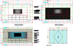 2D elevation design of tv unit dwg file