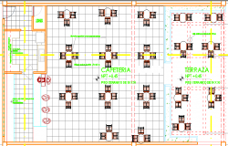 2D layout plan of a cafeteria dwg file