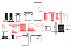 2D various types of several beds blocks design drawing