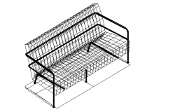 2D wireframe detailing of sofa