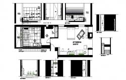 2d Drawing of bedroom  23'4''*17'6'' and bathroom 13'6''*12'6'' layout plan