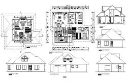 2d Drawing of house 15.02mtr x 10.49mtr with section and elevation in dwg file