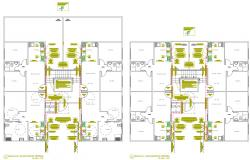 2d Residence Lodging Apartment Design Floor Layout Plan AutoCAD File Download
