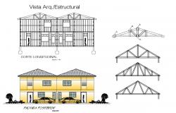 2d design elevation of housing bungalow with section dwg file