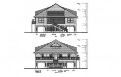 2d drawing of a house with elevation in AutoCAD