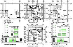 2d plan of single-family house design in dwg file