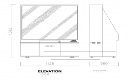 2d view of Television unit Detail CAD block layout file