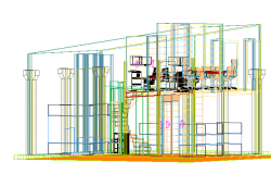 2d wire frame design details of multi-story office building dwg file