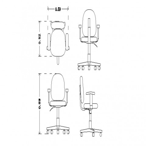 2d view of Movable chair CAD blocks layout autocad file