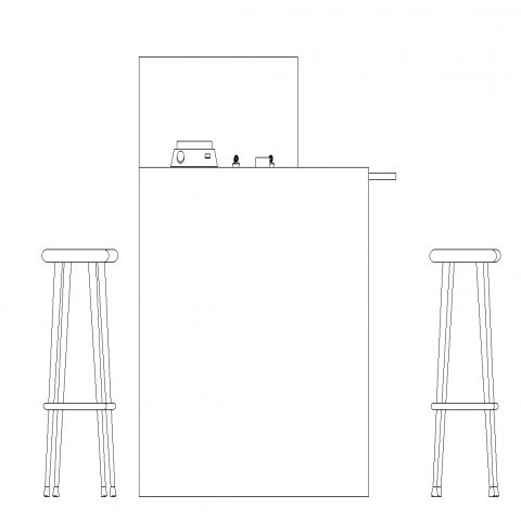 2d view of table and stool detail CAD furniture block autocad file