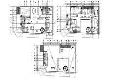 3 BHK Furnished Bungalow Design 2d Architecture Plan