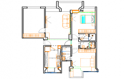 3 BHK house plan dwg file