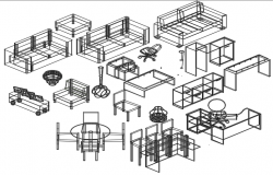 3 D Furniture plan detail dwg file