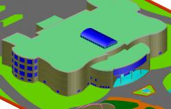 3 D Scientific center plan detail dwg file