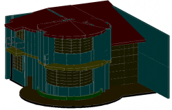 3 D cabin plan detail dwg file