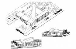 3 D commercial elevation detail dwg file