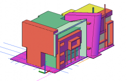 3 D commercial front elevation detail dwg file