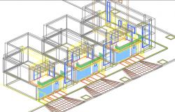 3 D duplex plan detail dwg file