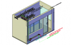 3 D frepeater room for monitoring system detail dwg file