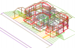3 D house plan detail dwg file