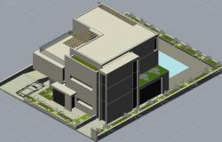 3 D modern house detail dwg file
