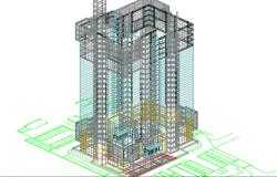 3 D office building plan detail dwg file