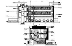 3 Storey commercial house with different section in autocad