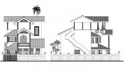 3 Story House Elevation AutoCAD File