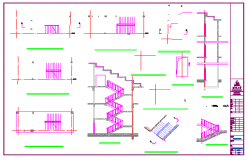 3 indoor stairs, elevator details design drawing