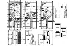 3 storey Residential house with section and elevation in autocad