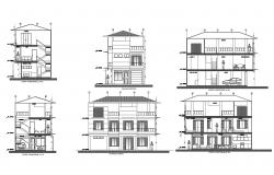 3 storey house with detail dimension in AutoCAD