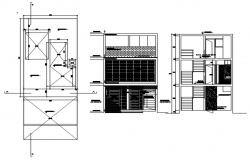 3 storey house with elevation and section in AutoCAD