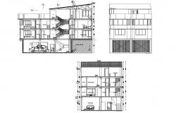3 storey house with elevation details in AutoCAD